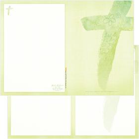 A4(4면) 십자가 주보 A4105 (양면칼라) - 연두색