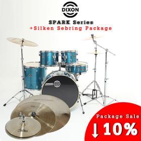 [기획패키지] Dixon Spark 5pcs Drum + Silken Sebring 풀세트 /딕슨/스파크/드럼세트