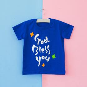 갓블레스유 코발트 티셔츠