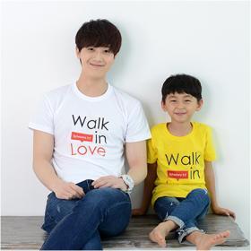 교회단체티 반티 - Walk in Love (흰색/노랑색) 교회티셔츠