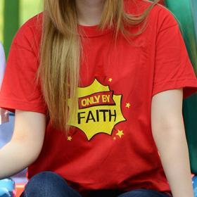 교회단체티 반티 - Only By Faith (흰색/빨강색) 교회티셔츠
