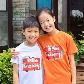 교회단체티 반티 - Church Go to Village 아동용 (흰색/유색) 교회티셔츠 교회야 마을로가자