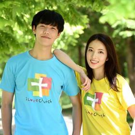 교회단체티 반티 -  I love Church 성인용 (흰색/유색) 교회티셔츠