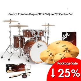 Gretsch New Catalina Maple CM1 + Zildjian ZBT Cymbal Set Package
