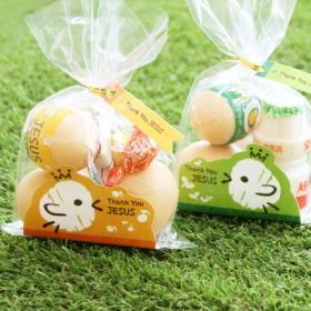 부활절 달걀 2구 받침 40개 (비닐,끈포함)_병아리 set