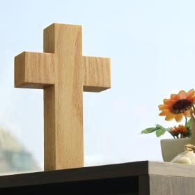 원목 사각 십자가 (중/탁상용)