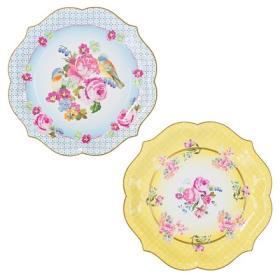 [순모임] 티파티 꽃무늬 큰 종이접시 노랑 2개 파랑 2개